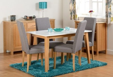 Natural oak, white finish table with grey fabric chairs